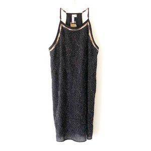 FRANCESCA'S • NWT • black gold sequin shift dress